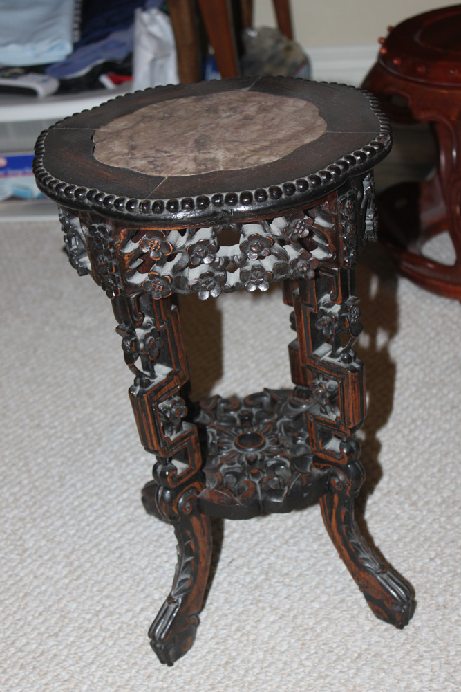 Antique Chinese Carved Marble Top Round Table