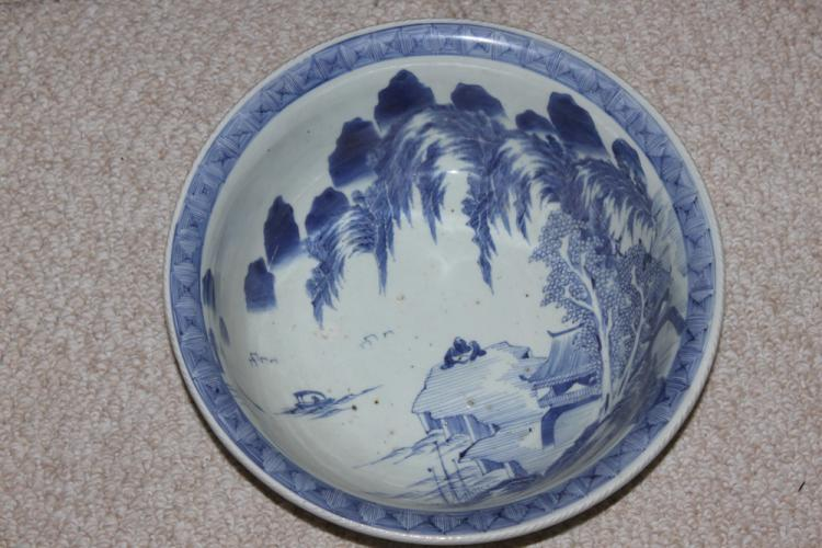 Antique Japanese Blue and White Imari Large Bowl