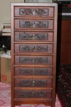 Rosewood Asian / Chinese Vintage Eight Drawer Chest