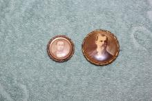 Two Antique Civil War 19th Century 10k Gold Mourning Pins