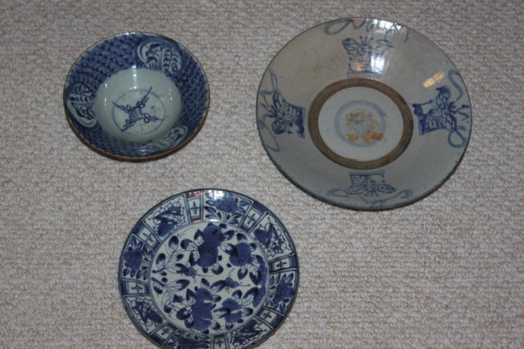 Three Antique Chinese Blue and White Bowl / Plate