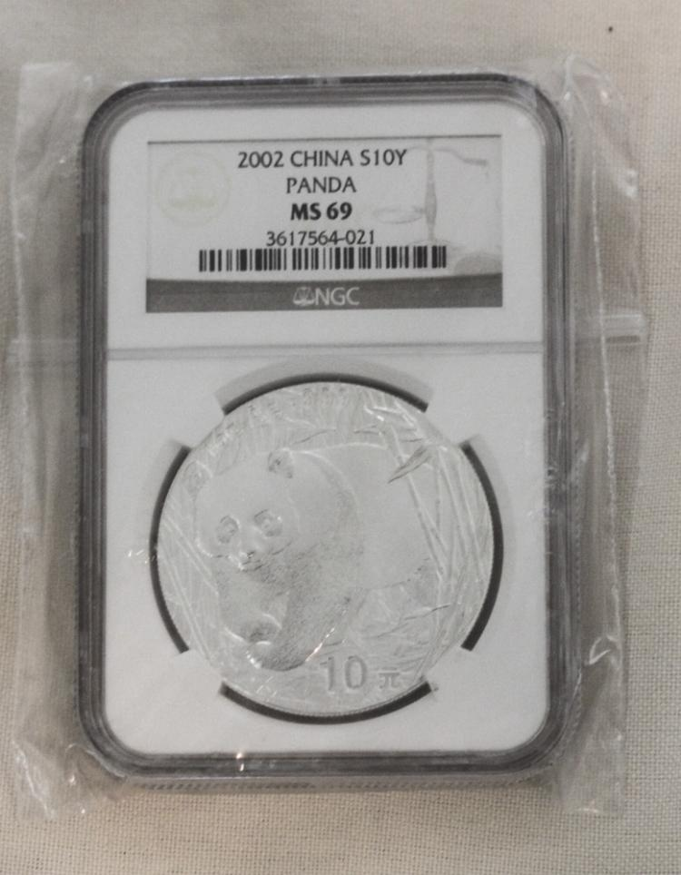 2002 Chinese NGC MSC69 1oz Pure Silver Coin