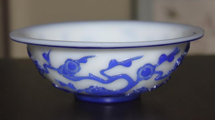 Antique Chinese 19th Century Blue and White carved Peking Glass Bowl