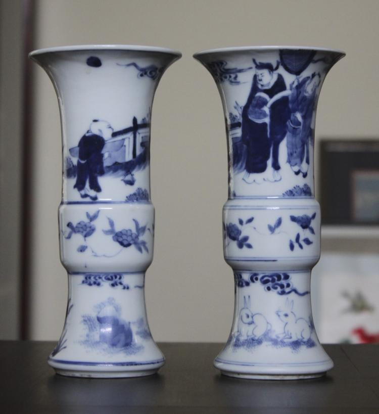 Pair of Antique Chinese 18th / 19th century Porcelain Beaker Vases