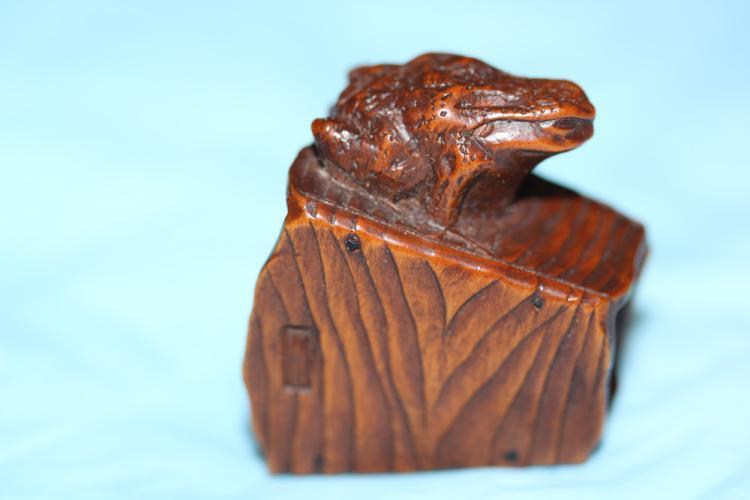 Antique Japanese Signed Wooden Netsuke by Masanao