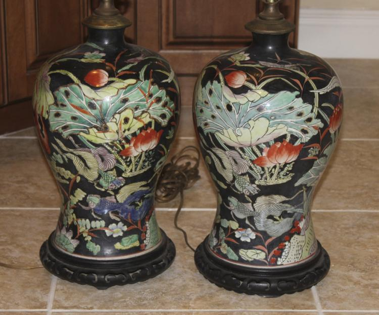 Antique / Vintage Chinese Famille Noire Porcelain Pair of Lamps