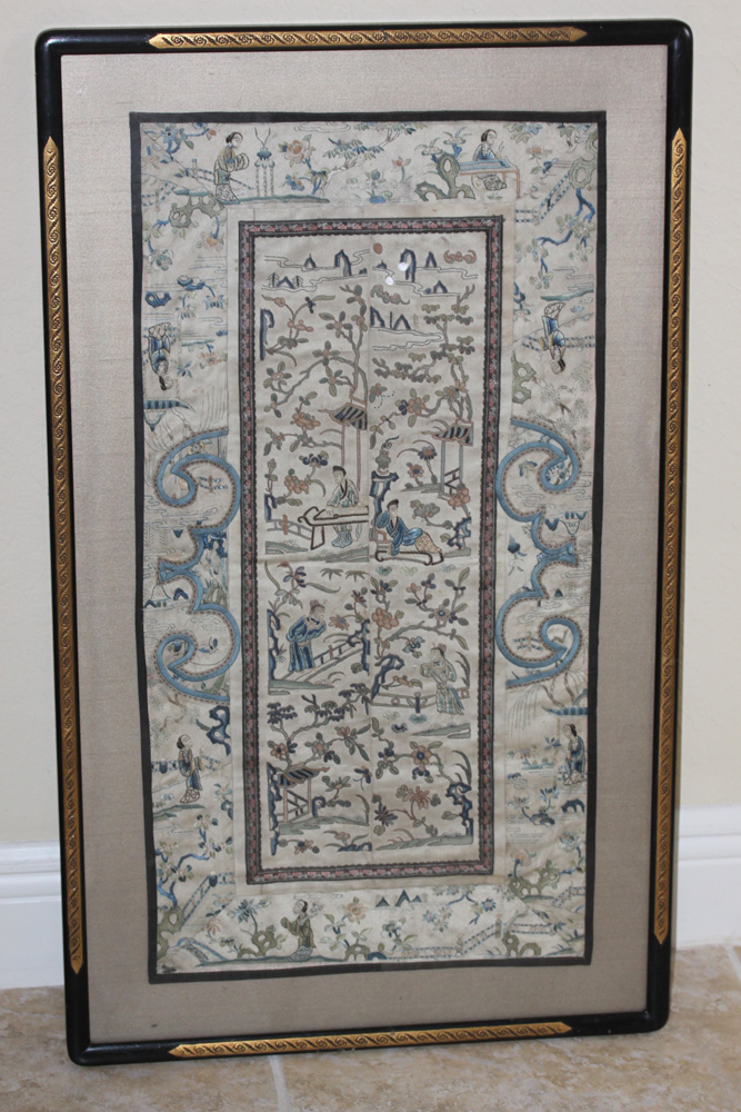 Antique Chinese 19th Century Golden Silk Framed Textile