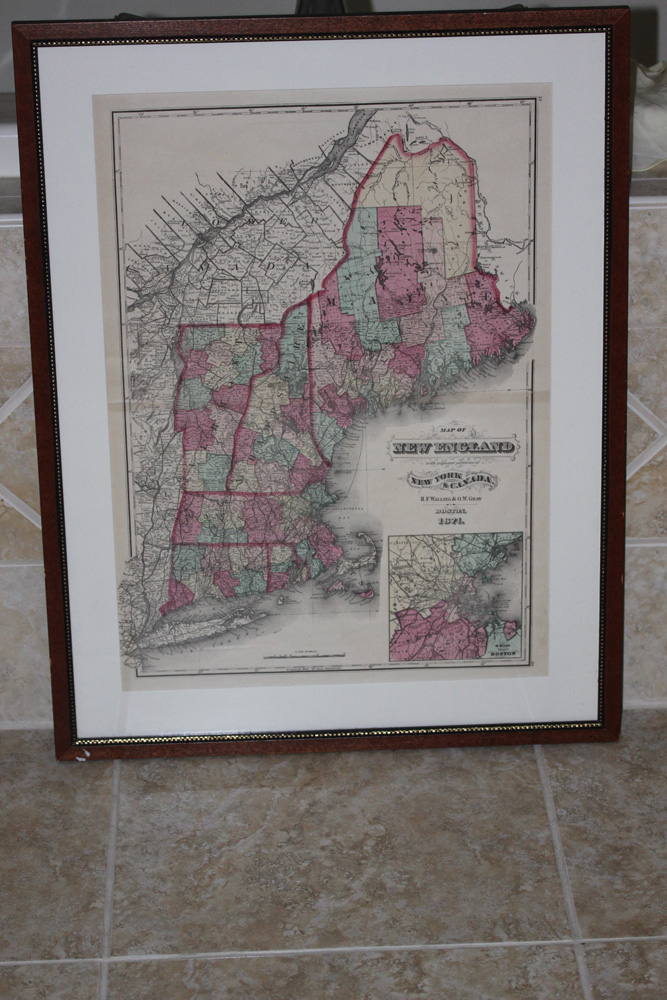 Antique 19th Century Map of New England