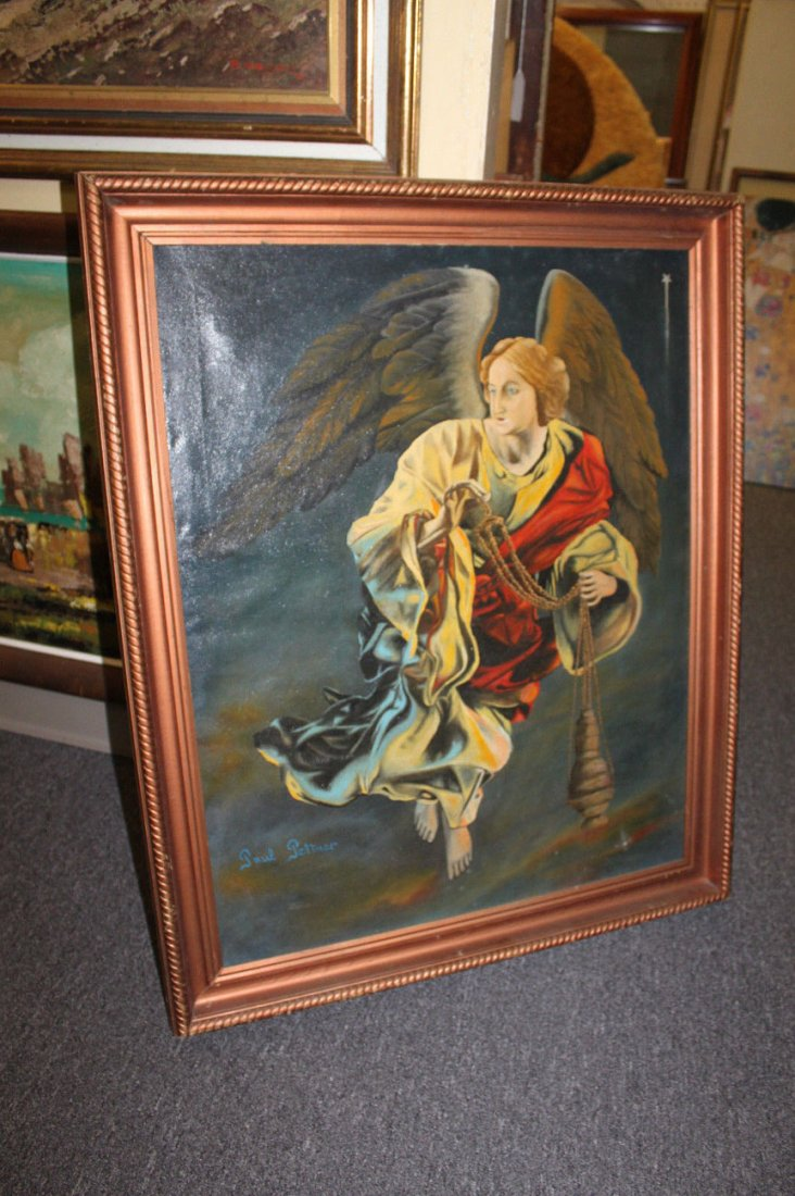 Early 20th Century Oil on Canvas Painting of Angel