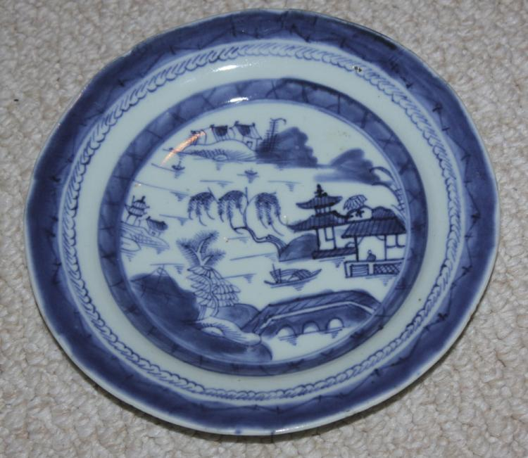 Antique Chinese 19th C Blue and White Export Plate