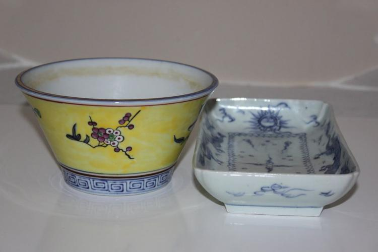 Lot of 2 Chinese Porcelain Bowl and Dish 19th/ 20th Century