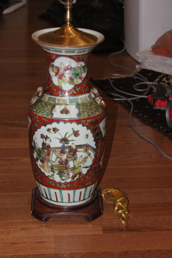 Antique / Vintage Chinese Floor Vase Lamp Conv.