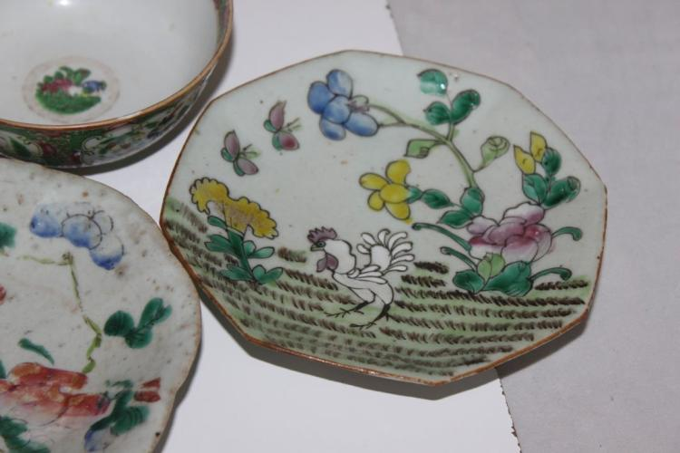 Lot of 7 Chinese Artifacts 19th C Bowls Plates