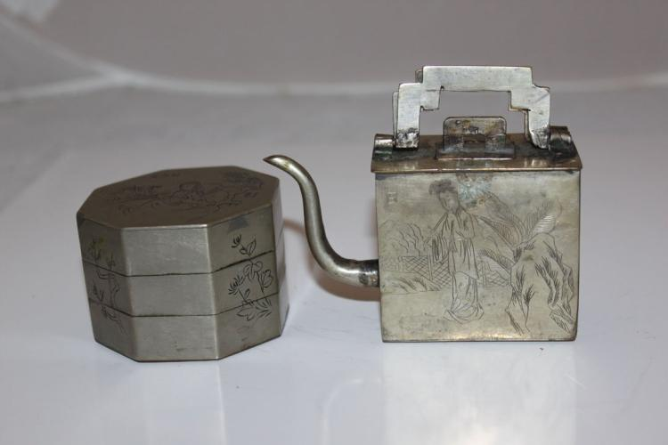 Inkwell and Ink Pouer/Pot Pewter Chinese Early 20th C