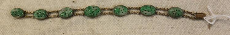 Early 20th Century 14k Gold Bracelet with Jade