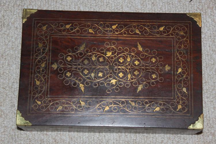 Antique European / Asian Bronze Wire Inlaid box