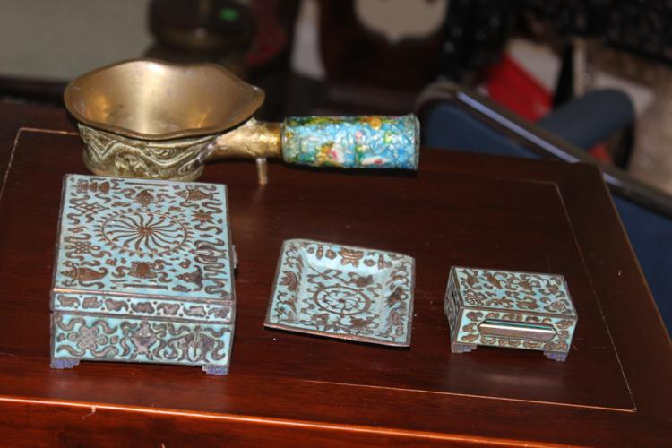 Lot of Four Antique Chinese Enamel / Iron Articles