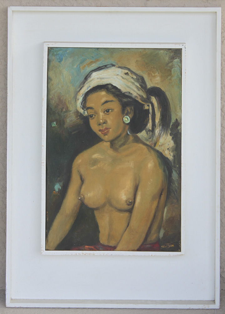 Oil on Board of a Philipino Nude Lady By Tjun