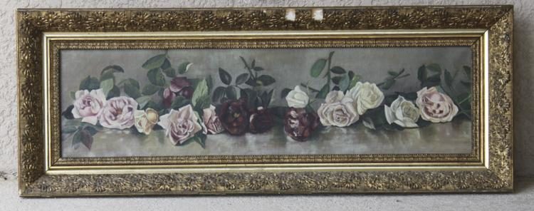 Yard Long Oil on Canvas Victorian Unsigned Painting