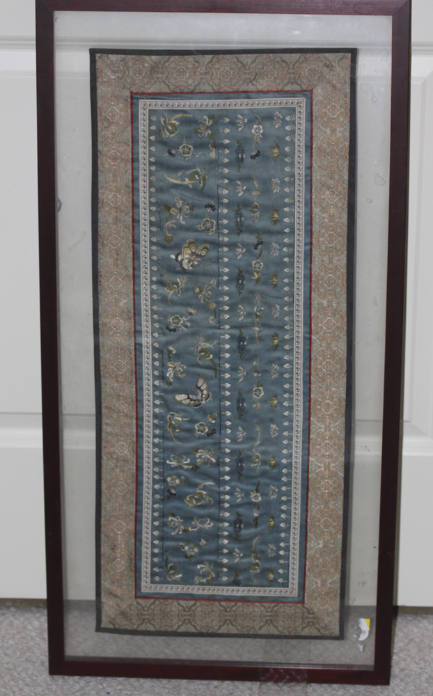 Vintage Chinese Framed Silk Panel