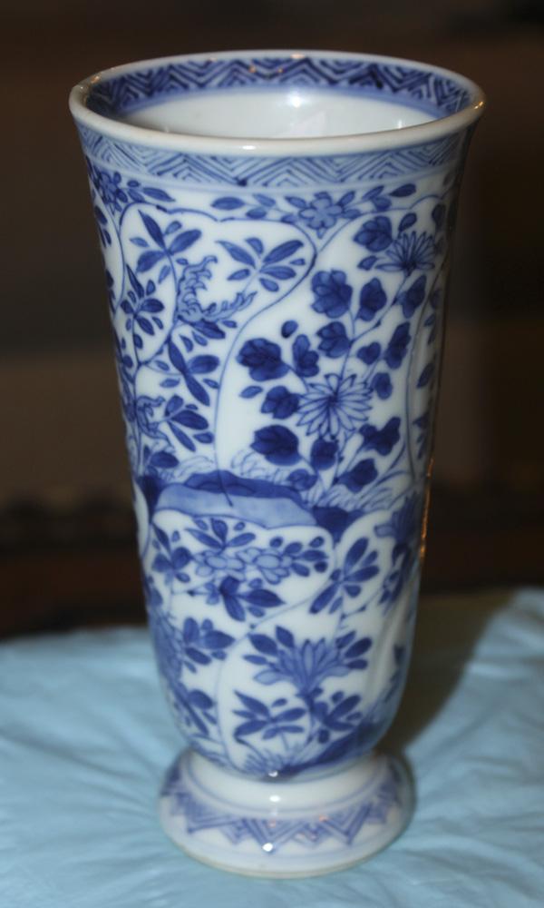 18th Century Kangxi Blue and White Beaker Vase