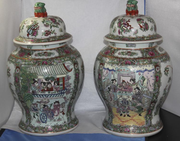 Pair of Rose Medallian Ginger Jars