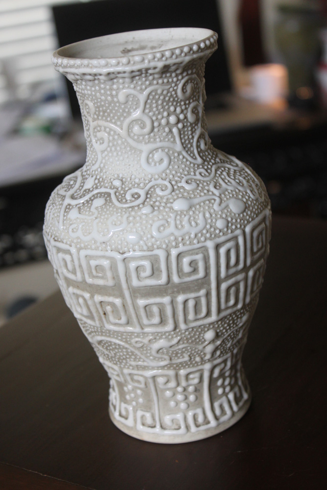Antique Chinese Reposee Blanc de Chine Vase