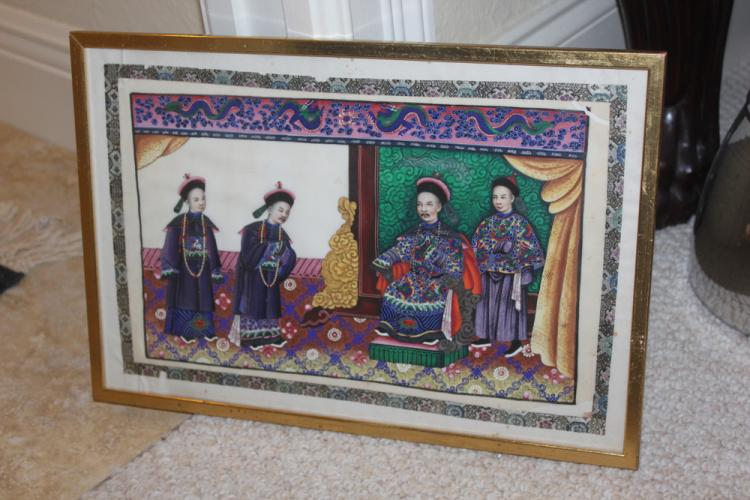 Antique Chinese 19th C Painting of Court Scene