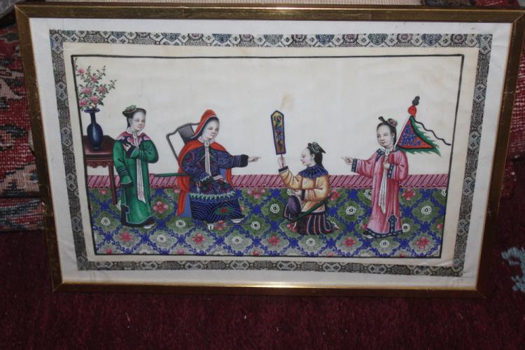 Antique Chinese 19th C Painting of Ladies
