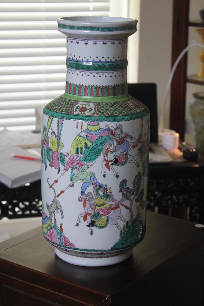 Vintage Large Chinese Famille Verte Vase