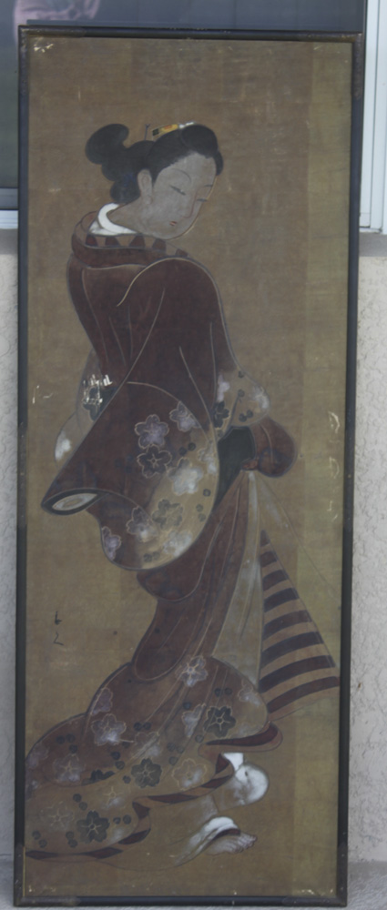 Antique Japanese Painting on Paper of Young Beauty