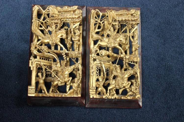 Two Gold Gilt Wood Panels