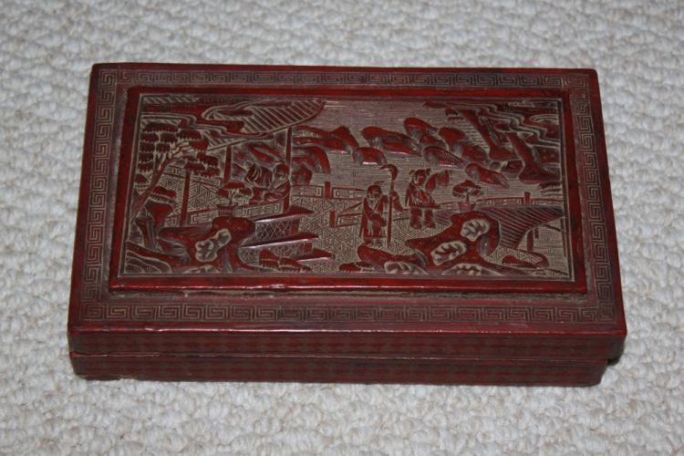 Antique Chinese Large Cinnabar Box