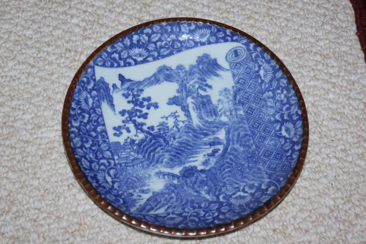 Antique Japanese Blue and White Imari Plate
