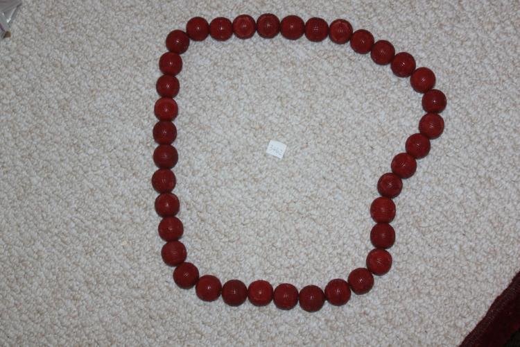 Antique / Vintage Large Chinese Cinnabar Circular Necklace