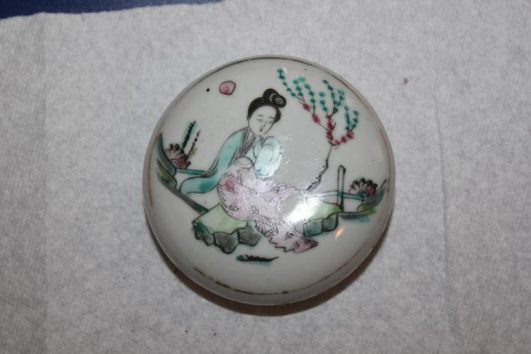 Antique 19th Century Porcelain Ink Box