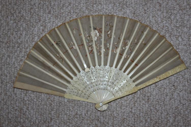 Antique Chinese Victorian Period Bone Fan