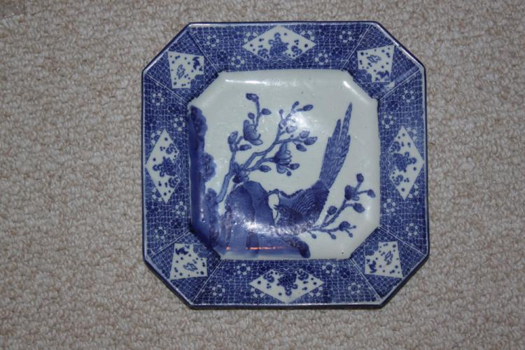 19th Century Japanese Blue and White Square Plate