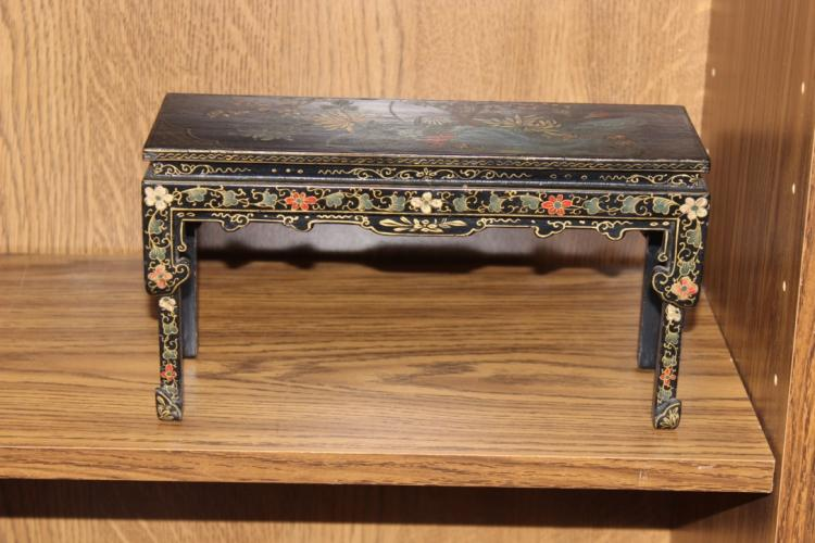 Antique Chinese Black Lacquer Stand / Mini Table