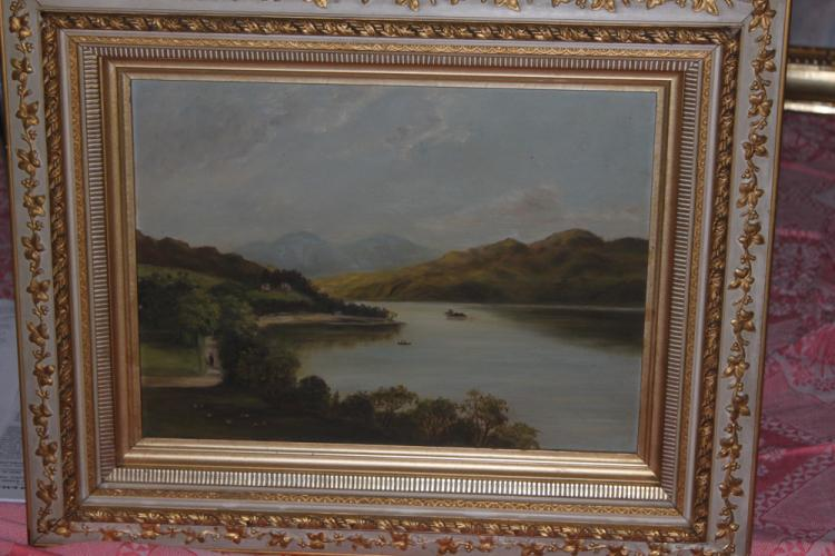 Antique 19th C Oil on Board of River Scene