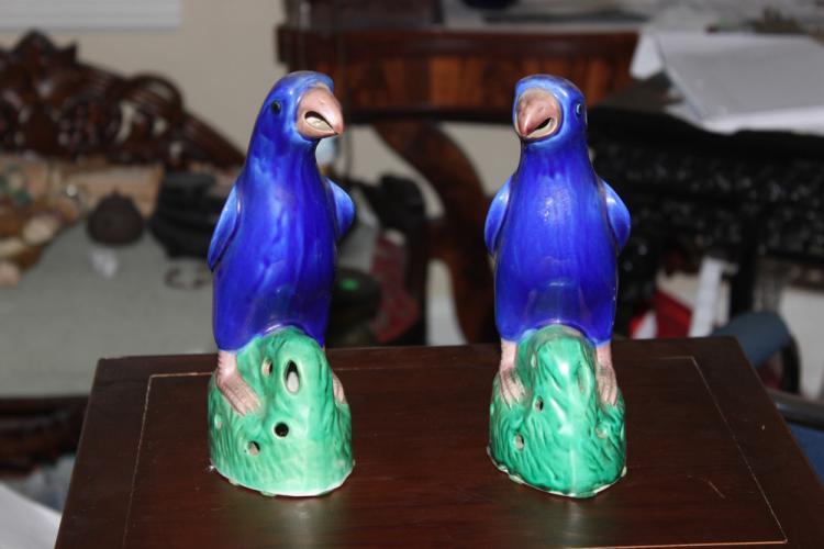 Pair of Antique 19th Century Chinese Parrots