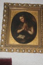 Antique Oil on Board of Praying Girl