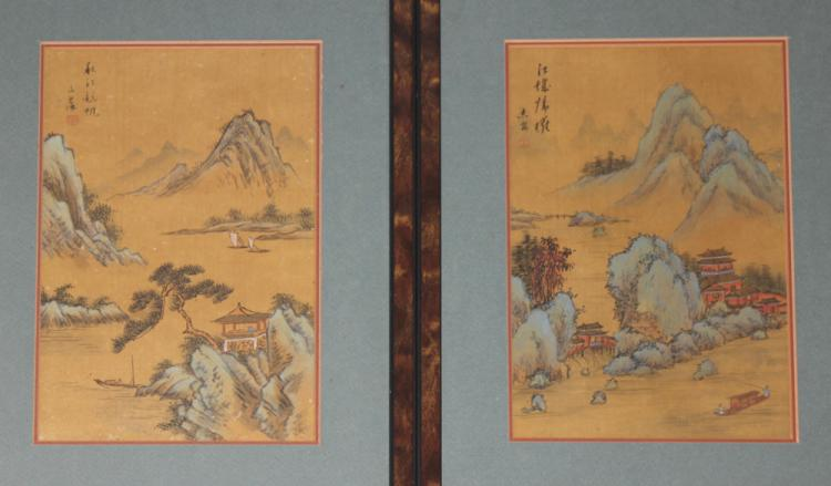 Lot of 2 Antique / Vintage Chinese Watercolor
