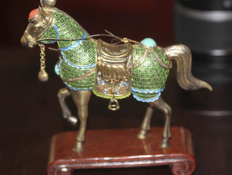 Sterling Silver Cloisonne Horse