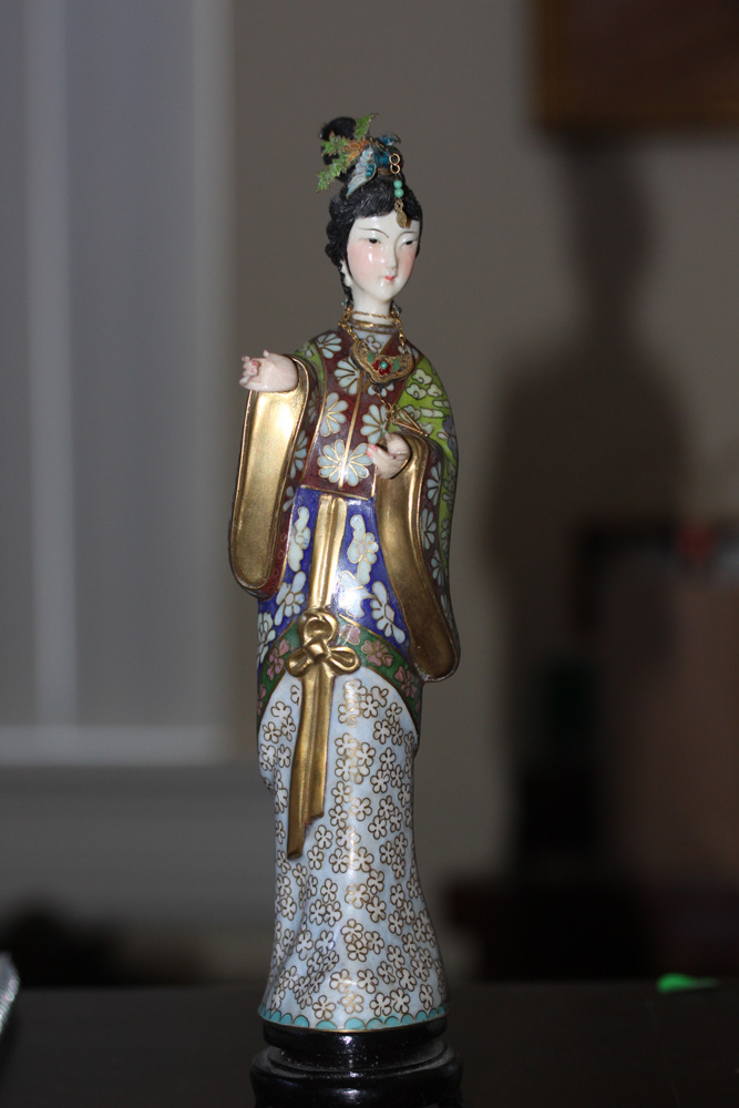 Nicely Carved Chinese Cloisonne Lady