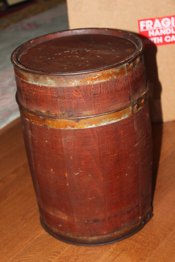 Spaulding and Frost Primative Wooden Barrel