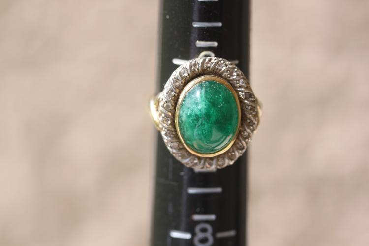 Green Jade and Diamond 14k Gold ring