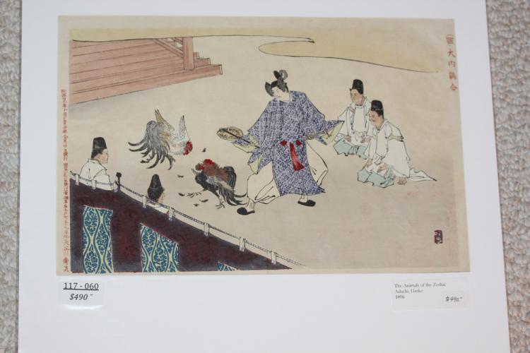Ginko Adachi Cockfighting Japanese Woodblock