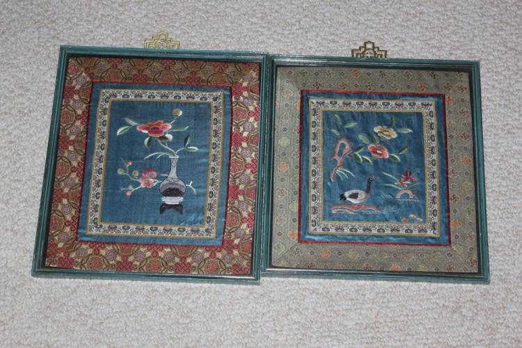 Pair of Chinese Framed Silk Panels