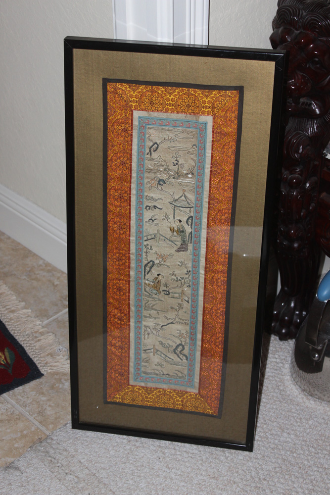 Framed Antique / Vintage Chinese Tapestry